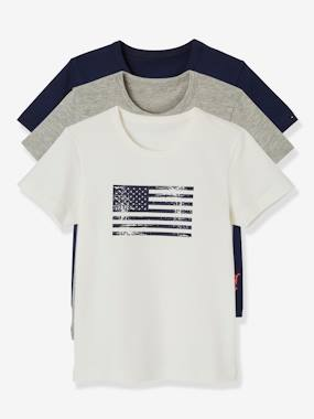 Boys-Underwear-T-Shirts-Pack of 3 Stretch T-shirts for Boys, Flag