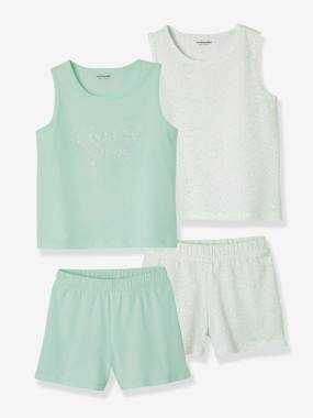 Mid season sale-Girls-Nightwear-Pack of 2 Mix & Match Short Pyjamas with Vest Tops for Girls