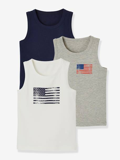 Pack of 3 Stretch Vest Tops for Boys, Flag WHITE LIGHT TWO COLOR/MULTICOL - vertbaudet enfant