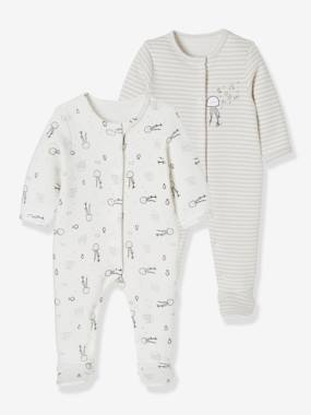 Basics and Multipacks-Baby Pack of 2 Printed Fleece Pyjamas, Back Press-Studs