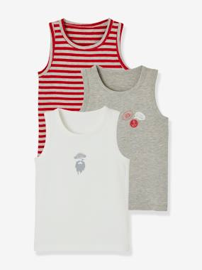 Boys-Underwear-Pack of 3 Vest Tops for Boys, Pirate