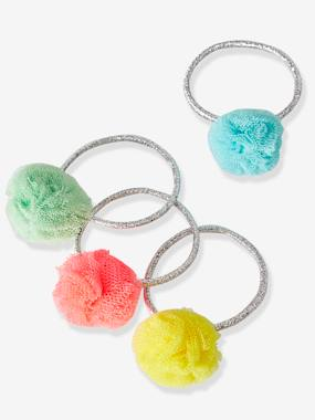 Girls-Set of 4 Elastic Bands with Multicoloured Pompons, for Girls