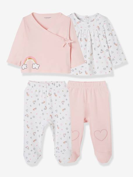 Pack of 2 Sets of 2-Piece Baby Pyjamas, in Cotton WHITE LIGHT TWO COLOR/MULTICOL - vertbaudet enfant