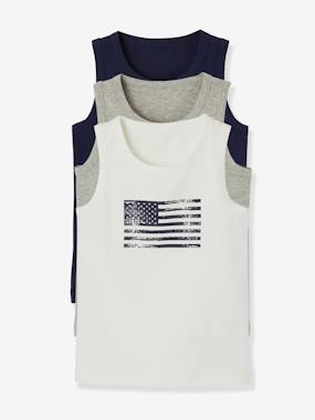 New collection preview-Boys-Pack of 3 Stretch Vest Tops for Boys, Flag