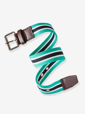 Boys-Accessories-Ties, Bowties & Belts-Striped Fabric Belt for Boys