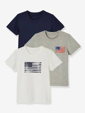 Vertbaudet Sale-Boys-Pack of 3 Stretch T-shirts for Boys, Flag