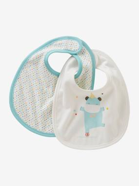 Nursery-Pack of 2 Newborn Bibs, Mini Zoo