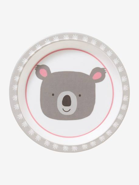 Melamine Plate, Animals BLUE LIGHT SOLID WITH DESIGN+GREY LIGHT SOLID WITH DESIGN+PINK LIGHT SOLID WITH DESIGN+YELLOW LIGHT SOLID WITH DESIGN - vertbaudet enfant