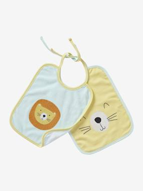 Vertbaudet Collection-Nursery-Pack of 2 Bibs for Babies with Ties, AnimalZ