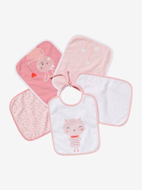 Pack of 5 Bibs for Babies BLUE DARK SOLID WITH DESIGN+PINK LIGHT SOLID WITH DESIGN+YELLOW LIGHT SOLID WITH DESIGN - vertbaudet enfant