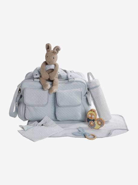 Journée Changing Bag with Several Pockets, by VERTBAUDET BEIGE LIGHT SOLID+BLUE LIGHT SOLID - vertbaudet enfant