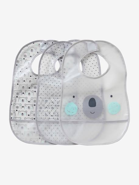 Pack of 3 Plastified Bibs with Crumbcatcher WHITE LIGHT SOLID WITH DESIGN - vertbaudet enfant