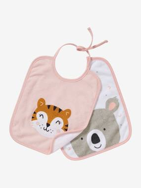 Nursery-Mealtime-Bibs-Pack of 2 Bibs for Babies with Ties, AnimalZ