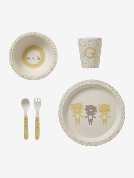 Mealtime Set in Bamboo, Mini Zoo YELLOW LIGHT SOLID WITH DESIGN - vertbaudet enfant