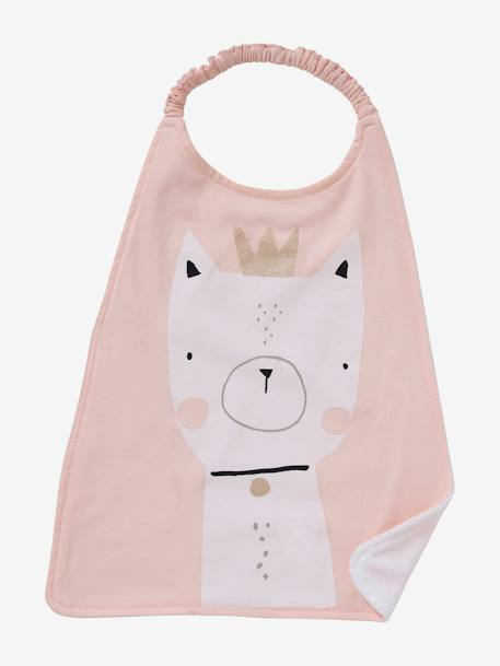 Large Bib for Toddler GREEN LIGHT SOLID WITH DESIGN+PINK LIGHT SOLID WITH DESIGN - vertbaudet enfant