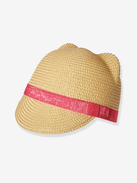Straw Hat with Decorative Ears, for Girls BEIGE MEDIUM SOLID - vertbaudet enfant