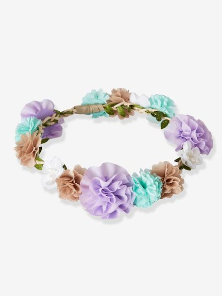 Girls' Flower Crown GREEN LIGHT SOLID WITH DESIGN+WHITE LIGHT SOLID WITH DESIGN - vertbaudet enfant