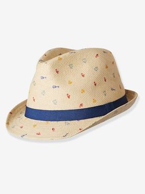 Baby-Hats & Accessories-Straw Hat with Stylish Motifs, for Baby Boys
