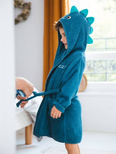 Dinosaur Bathrobe for Babies BLUE MEDIUM SOLID WITH DESIGN - vertbaudet enfant