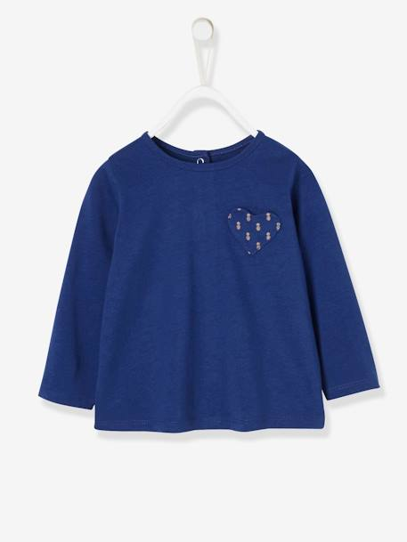 Top with Pocket with Exotic Motif for Baby Girls BLUE DARK SOLID WITH DESIGN - vertbaudet enfant