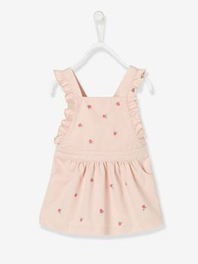 Dresses-Dress with Straps & Flower Embroidery for Baby Girls
