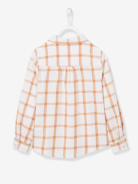 Iridescent Check Shirt for Girls BLUE DARK CHECKS+PINK MEDIUM CHECKS+WHITE LIGHT CHECKS - vertbaudet enfant