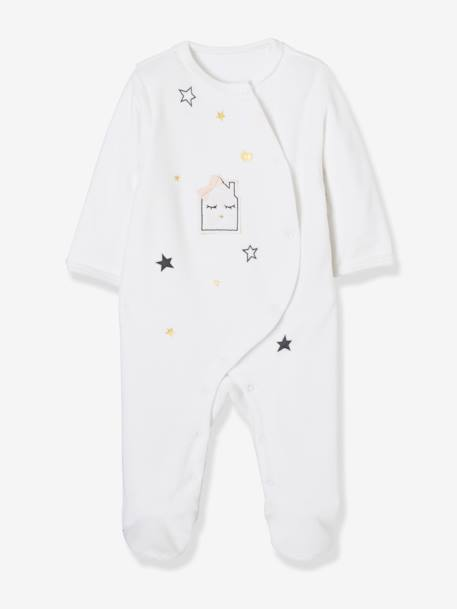 Baby Pack of 2 Printed Velour Pyjamas, Front Press-Studs WHITE LIGHT TWO COLOR/MULTICOL - vertbaudet enfant