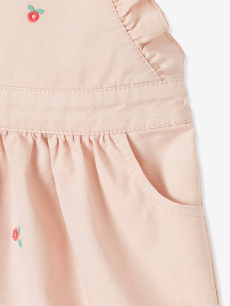 Dress with Straps & Flower Embroidery for Baby Girls PINK LIGHT ALL OVER PRINTED - vertbaudet enfant