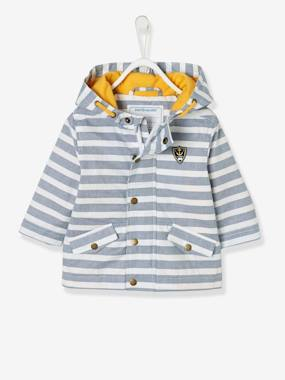 Baby-Outerwear-Baby Boys' Coated Raincoat with Hood