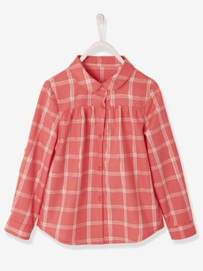 Girls-Blouses, Shirts & Tunics-Iridescent Check Shirt for Girls
