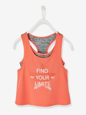 Vertbaudet Collection-Girls-Sportswear-2-in-1 Effect, Sports Singlet