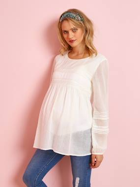 Maternity-Maternity Blouse with Embroidery & Lace