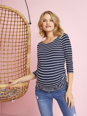 Maternity-T-shirts & Tops-Maternity Sailor-Type Top, Pretty Detail on the Back