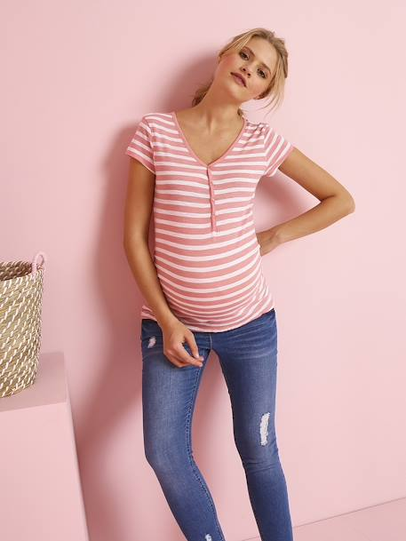 Grandad-Style Maternity & Nursing T-Shirt PINK MEDIUM STRIPED+RED LIGHT SOLID+WHITE MEDIUM STRIPED+YELLOW MEDIUM SOLID - vertbaudet enfant