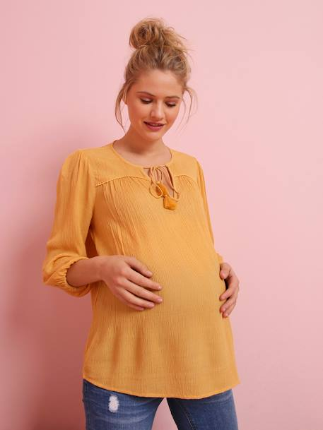 Maternity Blouse in Crepon BLUE DARK SOLID+WHITE LIGHT SOLID+YELLOW MEDIUM SOLID - vertbaudet enfant