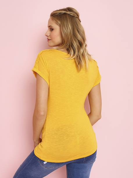 Maternity T-Shirt with Lace Cotton Trim RED MEDIUM SOLID+YELLOW MEDIUM SOLID - vertbaudet enfant