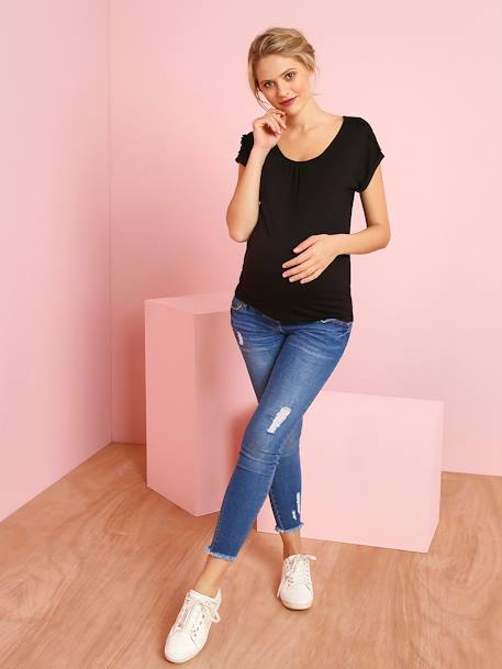 Maternity T-Shirt with Lace Cotton Trim BLACK DARK SOLID+BLUE DARK ALL OVER PRINTED+RED MEDIUM SOLID+YELLOW MEDIUM SOLID - vertbaudet enfant