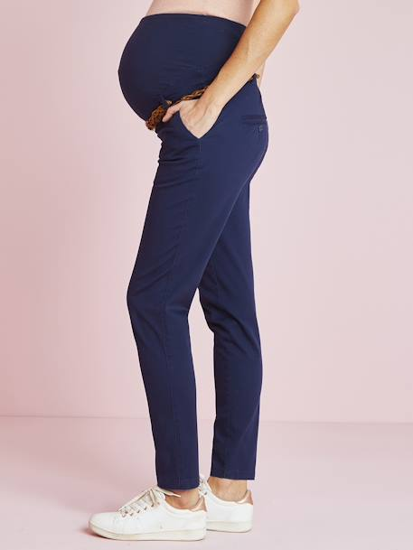 Maternity Chino Trousers, Inside Leg 32 cm BLUE DARK SOLID WITH DESIGN - vertbaudet enfant