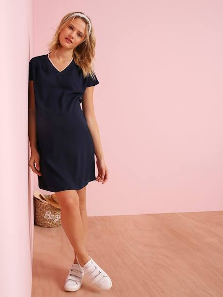 Maternity Dress, Contrasting V-Neck BLUE DARK SOLID WITH DESIGN - vertbaudet enfant