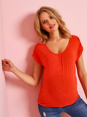 Maternity-Maternity T-Shirt with Lace Cotton Trim