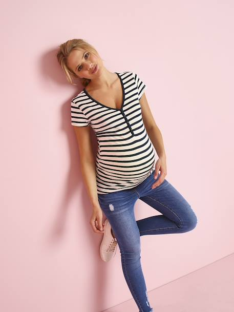 Grandad-Style Maternity & Nursing T-Shirt BLUE DARK SOLID+GREEN MEDIUM SOLID+PINK MEDIUM STRIPED+RED LIGHT SOLID+WHITE LIGHT SOLID+WHITE MEDIUM STRIPED+YELLOW MEDIUM SOLID - vertbaudet enfant