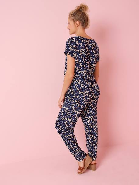 Maternity Jumpsuit in Printed Viscose BLUE DARK ALL OVER PRINTED - vertbaudet enfant