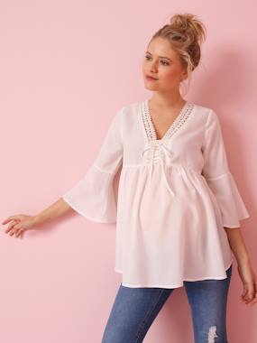 Maternity-Blouses, Shirts & Tunics-Maternity Blouse with Thin Stripes