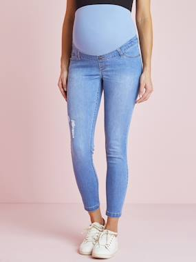 Maternity-Jeans-Maternity Skinny Jeans, Stonewashed Effect