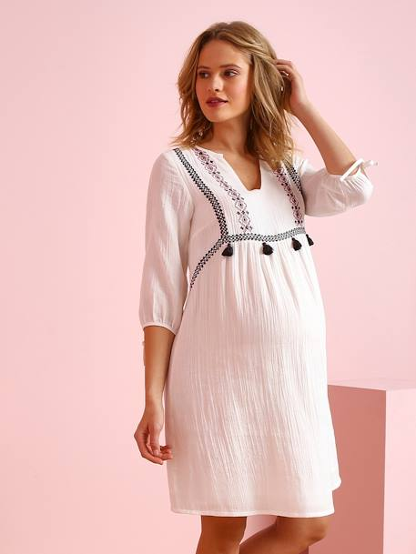 Embroidered Maternity Dress in Crepon, with Tassels WHITE LIGHT SOLID WITH DESIGN - vertbaudet enfant