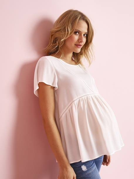 Maternity Blouse in Soft Fabric with Delicate Openwork WHITE LIGHT SOLID WITH DESIGN - vertbaudet enfant