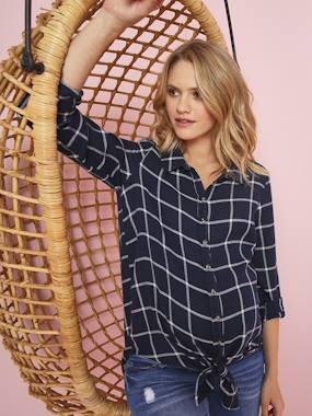 Maternity-Blouses, Shirts & Tunics-Chequered Maternity Tunic