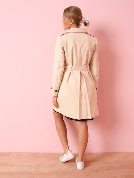 Maternity Trench Coat in Fabric BEIGE MEDIUM SOLID - vertbaudet enfant