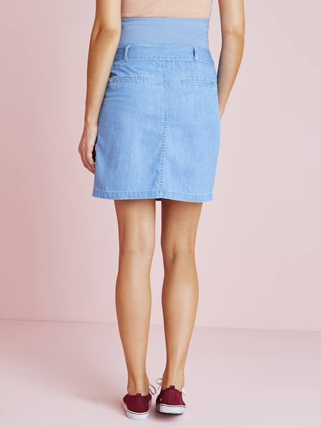 Denim Maternity Skirt with Belt BLUE LIGHT WASCHED - vertbaudet enfant