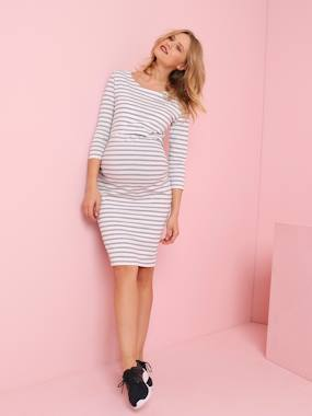 Maternity-Jersey Knit Nursing Dress